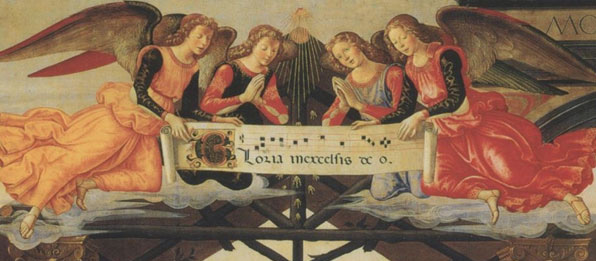 Painting of singing angels