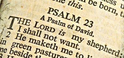 Close-up photo of Psalm 23 in the Bible