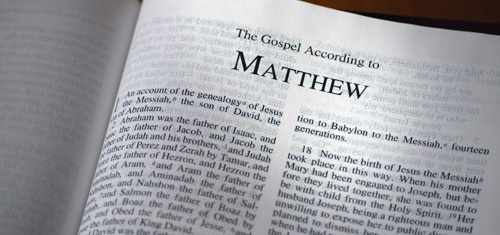 Photo of the Bible, the Gospel of Matthew